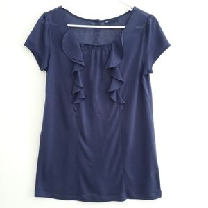 Gap Navy Front Ruffled Top M